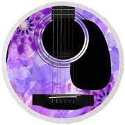 Floral Abstract Guitar 29 Round Beach Towel