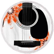 Floral Abstract Guitar 32 Round Beach Towel