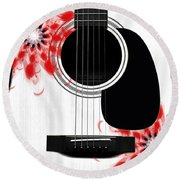 Floral Abstract Guitar 33 Round Beach Towel
