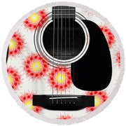 Floral Abstract Guitar 8 Round Beach Towel