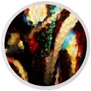 Floral Abstract I Round Beach Towel