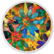 Floral Abstract Photoart Round Beach Towel