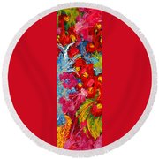 Floral Abstract Part 3 Round Beach Towel