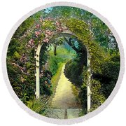 Floral Arch And Path Round Beach Towel
