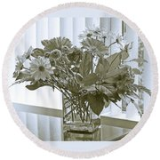Floral Arrangement With Blinds Reflection Round Beach Towel