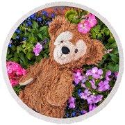 Floral Bear Round Beach Towel