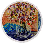 Floral Bliss Round Beach Towel