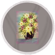 Floral Delight Acrylic Painting Round Beach Towel