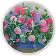 Floral Display Round Beach Towel