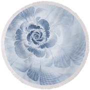 Floral Impression Cyanotype Round Beach Towel