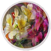 Floral Inspiration - Square Version Round Beach Towel