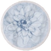 Floral Layers Cyanotype Round Beach Towel