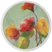 Floral Painting Round Beach Towel