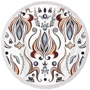 Floral Pattern I Round Beach Towel