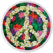 Floral Peace Pop Art Round Beach Towel