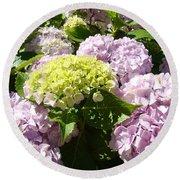 Floral Pink Lavender Hydrangea Garden Art Prints Round Beach Towel