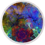 Floral Psychedelic Round Beach Towel