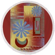 Floral Still Life In Red Round Beach Towel