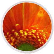 Floral Sunrise - Digital Painting Effect Round Beach Towel