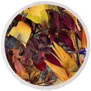 Floral Tiles Round Beach Towel