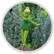 Floral Tinker Bell Round Beach Towel