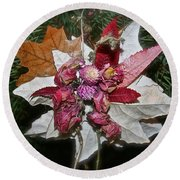 Floral Tree Ornament Round Beach Towel