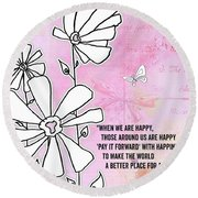 Floral Typography Word Art Quote Flowers And Butterflies By Megan Duncanson Round Beach Towel