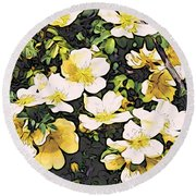 Floral Yellow Round Beach Towel