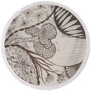 Floral Zen Tangle  Round Beach Towel