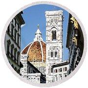 Florence Italy Santa Maria Fiori Duomo Round Beach Towel
