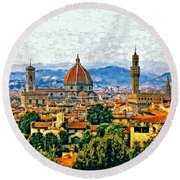 Florence Watercolor Round Beach Towel