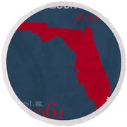 Florida Atlantic University Owls Boca Raton College Town State Map Poster Series No 037 Round Beach Towel