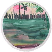 Florida City-skyline2 Round Beach Towel