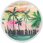 Florida City-skyline3 Round Beach Towel