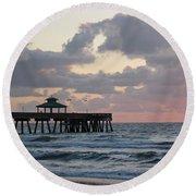 Florida Fishing Pier Round Beach Towel