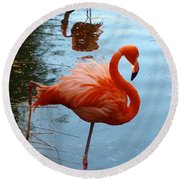 Florida Flamingo Round Beach Towel