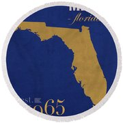Florida International University Panthers Miami College Town State Map Poster Series No 038 Round Beach Towel