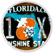 Florida License Plate Round Beach Towel