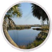 Florida Marshland Round Beach Towel