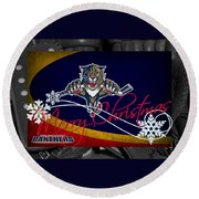 Florida Panthers Christmas Round Beach Towel