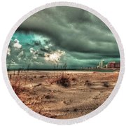 Florida Point Begining Of The Storm Round Beach Towel
