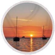 Florida Sailboat Sunset Round Beach Towel