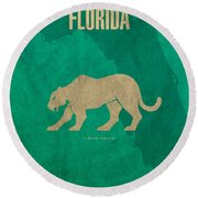 Florida State Facts Minimalist Movie Poster Art  Round Beach Towel