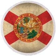 Florida State Flag Art On Worn Canvas Round Beach Towel