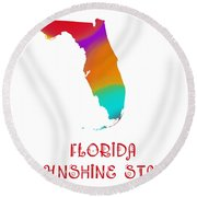 Florida State Map Collection 2 Round Beach Towel