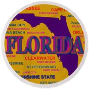 Florida State Pride Map Silhouette  Round Beach Towel