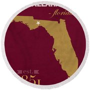 Florida State University Seminoles Tallahassee Florida Town State Map Poster Series No 039 Round Beach Towel
