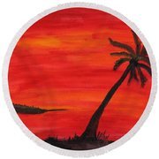 Florida Sunset II Round Beach Towel