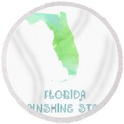 Florida - Sunshine State - Map - State Phrase - Geology Round Beach Towel