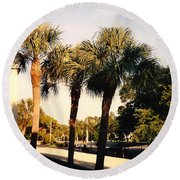 Florida Trees 2 Round Beach Towel